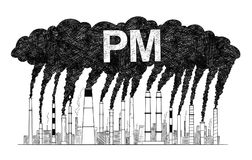 Illustration artistique de dessin de vecteur des cheminées de tabagisme, concept des particules d'industrie ou d'usine ou de l'ai illustration libre de droits