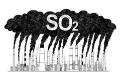 Illustration artistique de dessin de vecteur des cheminées de tabagisme, concept pollution atmosphérique d'industrie ou d'usine d illustration stock