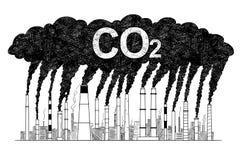 Illustration artistique de dessin de vecteur des cheminées de tabagisme, concept pollution atmosphérique d'industrie ou d'usine d illustration libre de droits