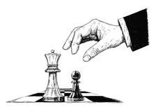 Illustration artistique de dessin de vecteur du roi et du gage d'échecs se faisant face illustration stock