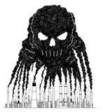 Illustration artistique de dessin de vecteur de fumée des cheminées créant le crâne humain, concept de pollution atmosphérique to illustration stock