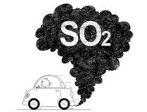 Illustration artistique de dessin de vecteur de pollution de SO2 d'air de voiture illustration libre de droits