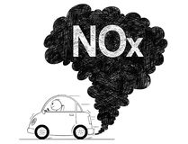 Illustration artistique de dessin de vecteur de pollution de NOx d'air de voiture illustration stock