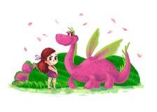 Illustration artistique tirée par la main de petite fille mignonne et de dinosau amical Photo stock