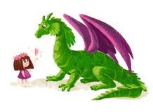 Illustration artistique tirée par la main de petite fille mignonne et de dinosaure amical Photos stock