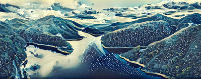 Illustration artwork -  Lake and and Hills reflecting in the wat Royalty Free Stock Images