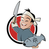 Asian chef with fish. An illustration of an Asian chef with a fish and a knife in a badge Royalty Free Stock Image