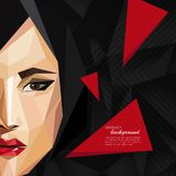 Illustration with an asian woman face in low-polygonal style. modern poster, fashion, beauty or entertainment concept Royalty Free Stock Photo