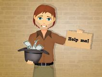 Asking for charity. Illustration of asking for charity stock illustration