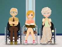 Assistant for the elderly in the nursing home. Illustration of assistant for the elderly in the nursing home stock illustration