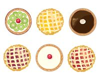 Assorted tarts. An illustration of assorted home baked tarts for sweet desserts on a white background Stock Image