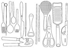 Illustration of assorted kitchen Stock Photo