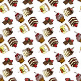 Illustration of assorted pastries. Seamless pattern. Stock Photography