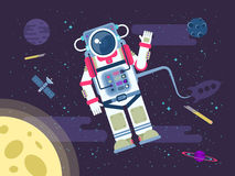 Illustration of an astronaut or cosmonaut flying in outer space near the moon in a flat style Stock Images