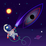 Illustration with an astronaut Stock Photo