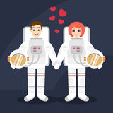 Illustration of astronauts couple in love holding hands. Vector illustration of astronauts couple in love holding hands Stock Image