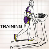 Illustration of Athletic woman on gym class walk treadmill runni Royalty Free Stock Photography