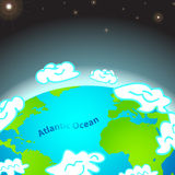 Illustration of Atlantic ocean on Earth Royalty Free Stock Image