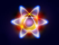 Illustration of an atom and orbiting electrons. Colorful Illustration of an atom with electrons orbiting the nucleus Stock Photos