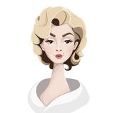 Illustration of an attractive blonde. Character illustration. Illustration of an attractive blonde in the style of Merlin Monroe Royalty Free Stock Photo
