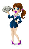 Attractive business woman holds in hands money Royalty Free Stock Photo