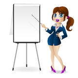 Business woman points to the flip chart Royalty Free Stock Images