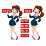 Attractive girl showing a discount on sale Stock Images