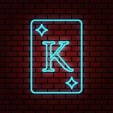 illustration au néon bleue de carte de diamant de roi d'éclairage illustration stock