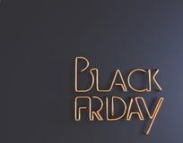 Illustration au néon des textes 3d en métal noir de vendredi avec l'espace de copie Photos stock
