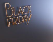 Illustration au néon des textes 3d en métal noir de vendredi avec l'espace de copie Images stock
