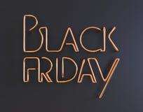 Illustration au néon des textes 3d en métal noir de vendredi avec l'espace de copie Photos libres de droits