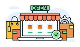 Illustration au sujet de magasin et de marchandises d'Internet Photographie stock