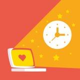 Illustration au sujet de travail sur l'ordinateur et la longue journée illustration libre de droits