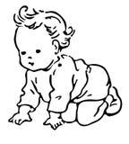 Illustration au trait d'un bébé Photos stock