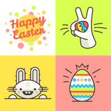 Illustration au trait heureux Pâques Photo stock