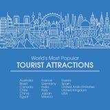 Illustration au trait plat des emplacements de touriste du les plus populaires du monde Images stock