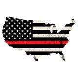 Illustration au trait Support Thin Red de sapeur-pompier des Etats-Unis illustration stock