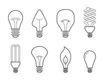 Illustration au trait vecteur des types de allumage électriques principaux : ampoule incandescente, lampe d'halogène, cfl et lamp illustration stock