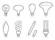 Illustration au trait vecteur des types de allumage électriques principaux : ampoule incandescente, lampe d'halogène, cfl et lamp illustration libre de droits