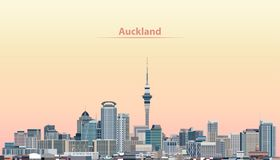 Vector illustration of Auckland city skyline at sunrise vector illustration
