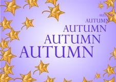 Illustration auf einem Herbstthema mit Ahornblättern stock abbildung