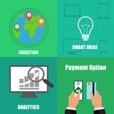 Illustration auf Geschäftskonzept mit vier unterschiedlichem Hintergründen Stockfotos