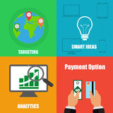 Illustration auf Geschäftskonzept mit vier unterschiedlichem Hintergründen Stockfoto