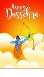 Illustration auf Lager einer Grußkarte, die glückliches Dussehra mit Skizze von Lord Rama und von Ravana im Kampf sagt lizenzfreie abbildung