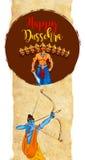 Illustration auf Lager einer Grußkarte, die glückliches Dussehra mit Skizze von Lord Rama und von Ravana im Kampf sagt Stockfotos