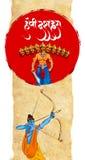 Illustration auf Lager einer Grußkarte, die glückliches Dussehra mit Skizze von Lord Rama und von Ravana im Kampf sagt Stockbild