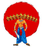 Illustration auf Lager einer Grußkarte, die glückliches Dussehra mit Skizze von Lord Rama und von Ravana im Kampf sagt Lizenzfreies Stockbild