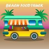Illustration auf Lager Van mit Lebensmittel stockbild