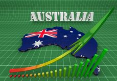 Illustration of Australia. 3D Illustration of Australia and business graphics Stock Image