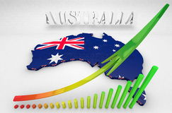 Illustration of Australia. 3D Illustration of Australia and business graphics Royalty Free Stock Image